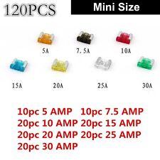 DIY 120PCS Car Mini Low Profile Fuse Box 5/7.5/10/15/20/25/30 AMP Universal