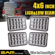 """4PCS 4""""x6"""" INCH LED Headlights For Kenworth C500 Model 1981 - 2015 W/ H/L Beam"""