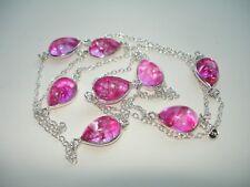 "AB Fucshia-Pink Multi Snakeskin Quartz Station Silver Necklace 30"""