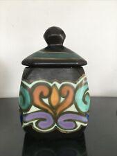 Pot ancien en céramique Style Gouda Plazuid Holland art Déco avec couvercle