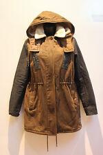 Lacoste Coat Jacket Size 36 / XS Olive Brown Blue Faux Sheepskin Lined Hooded