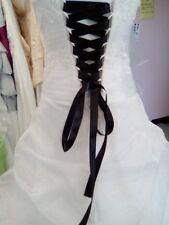 Lacet ruban NOIR / 3 mètres - satiné pour robe de mariée/soirée
