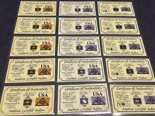 Certifié de bullion-Or grain10 x 1-Platine grain 10 x 1- Argent grain 10 x 1