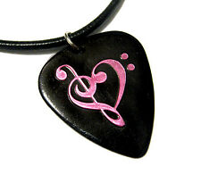 Music Heart Guitar Pick Necklace, black & pink musician gift anniversary Love