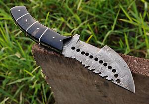 10'CUSTOM Hand Forged Damascus Steel Hunting Tracker Knife W/ BULL HORN HANDLE