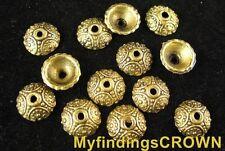 150 Pcs Antiqued gold Ornate bead caps FC531