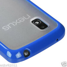 LG Nexus 4 E960 Google Phone Hybrid Gummy Case TPU+Plastic Cover Clear Blue