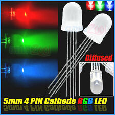 50pcs x 5mm 4 pin RGB Diffused Common Cathode LED Red Green Blue