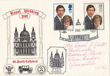 (32052) CLEARANCE GB Cover Princess Diana Wedding Posted St Pauls 11 Aug 1981