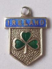 IRELAND  vintage sterling silver shield enamel travel charm  larger shield shape