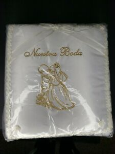 New Nuestra Boda Our Wedding Photo Album Gold Lace Embroidered