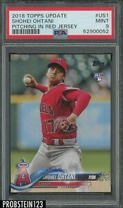 2018 Topps Update #US1 Shohei Ohtani Pitching In Red Jersey RC Rookie PSA 9