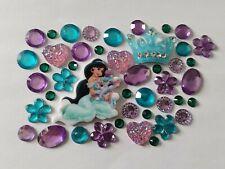 Joblot Flatback Disney Princess Jasmine Theme Cabochon Gem Pearls Blue Purple