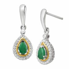 3/8 ct Natural Emerald Drop Earrings with Diamonds in Silver & 14K Gold