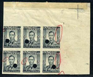 S. RHODESIA 1937 KGV WATERLOW IMPERFORATE PROOFS 6d BLOCK X6 MNH, R! #B202