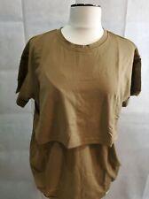 NEW Maternity Nursing Brown Short Sleeve Shirt -Size Large Miss Military Mom