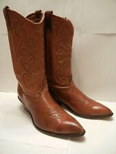 ZODIAC USA LEATHER WESTERN COWBOY BOOTS SZ 11 N TOP STITCHING PULL ON BROWN
