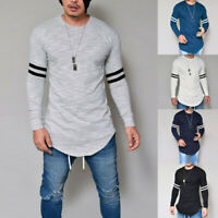❤️ Men's Striped Print Long Sleeve Tops T-Shirt Casual Crew Neck Blouse Pullover