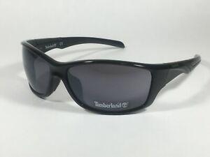 Authentic Timberland Sport Wrap Sunglasses Shiny Black Frame Gray Lens TB7150