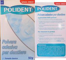 POLIDENT Polvere adesiva per dentiere 50 grammi senza zinco lunga tenuta