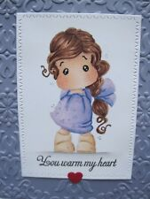 Girl with heart Handmade Greeting Card, flower, beautiful, happiness, friend