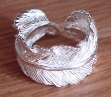 925 Sterling Silver Large Angel Feather Ring Adjustable Fits M N O P Q R S Plume
