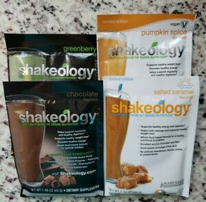 Shakeology 4 packets, Chocolate, Greenberry, Pumpkin Spice, Salted Caramel