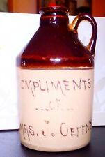 1919 Miniature  Stoneware Jug  Compliments of Chas. J. Oeffner  Alliance, Ohio