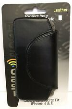 Moda Casi Leather Phone Case iPhone 4 5 5s SE Swivel Belt Clip Black