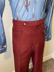 Vtg 60s 70s Mens 36 31 SANSABELT Pants Burgundy Polyester Disco Leisure Suit Mod