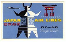 1955 JAPAN AIR LINES ~ PACIFIC COURIER DC-6B ~ AIRLINE LUGGAGE LABEL