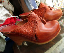 Rare Vintage Wood Leather Connie Slides Hippy Boho Wedge Heels Sandals 7M 7