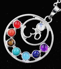 "7 Chakra Crystal Quartz Stone Bead Pendant  Reiki Ohm Namaste Yoga Necklace 18"""