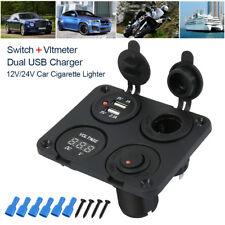 12V-24V In Car Cigarette Lighter Socket Dual USB Power Charger+Voltmeter+Switch