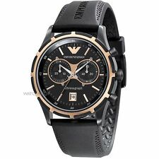 **NEW** MENS EMPORIO ARMANI SPORT CHRONOGRAPH BLACK IP RUBBER WATCH - AR0584