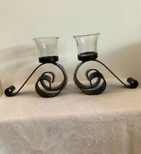 Dark Brown Iron Candle Holders Set Candelabra Scroll Centerpiece Mantel