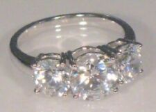 Round cut Diamond Trilogy Engagement Anniversary Promise Ring White Gold ov