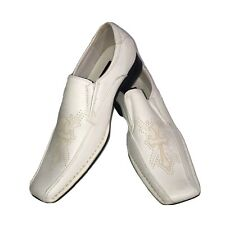 Bonafini Collection White Boys Shoes Loafers , Size 6 Embroidery Cross