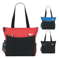 Ladies Large Shopping Shoulder Tote Bag with mesh bottle pocket Red, Blue, Black