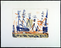 """DDR-Kunst/Nachwendezeit """"Ausflug"""" 1995 Lithogr. STRAWALDE (*1931 D) handsigniert"""