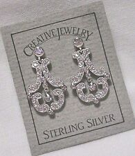 """CLEAR CRYSTALS STERLING SILVER CHANDELIER POST EARRINGS 1"""" SWEET NEW"""