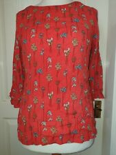 WHITE STUFF Size 14 Red Top With Sprigs Of Flowers- 3/4 Length Sleeves
