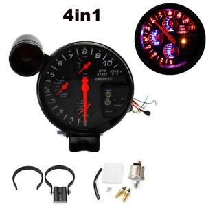 "4in1 5"" Tachometer RPM Meter Oil Pressure Water Oil Temp Gauge For 12V Auto Car"
