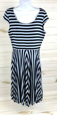 Ann Taylor LOFT Gray Blue/Black Stripe Fit & Flare Knit Dress Size M EUC A5107
