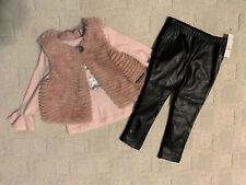 3-Pc Set Toddler Girl Calvin Klein Jeans Size 2T Pink Top/Vest Black Leggings