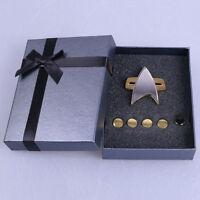 Star Trek Badge Voyager Communicator Pin Brooch & Rank Pips Prop Set Of 6 New