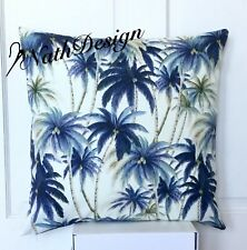 NEW Tommy Bahama Indoor/Outdoor 45cm Blue Off  White Palm Tree Cushion Cover