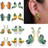 1Pair Women Charm Crystal Rhinestone Enamel Butterfly Stud Earrings Jewellery