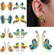 1Pair Women Charm Crystal Rhinestone Enamel Butterfly Stud Earrings Jewellery