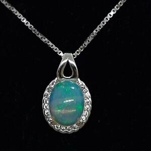World Class 2.35ct Opal & Diamond Cut White Sapphire 925 Sterling Silver Pendant